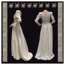 Vintage 1940s Rose Brocade Satin Wedding Gown