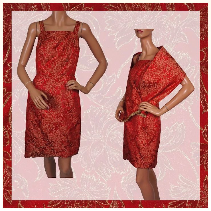 Vintage 60s Dress Red Gold Brocade W Shoulder Wrap Ladies Size S