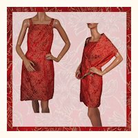 Vintage 60s Dress Red & Gold Brocade w Shoulder Wrap Ladies Size S