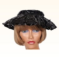 Vintage 1950s Black Straw Cello Hat