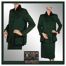RESERVED 1940s Womens Suit French Blin & Blin Green Wool  Henry Morgan  Ladies Size M Vintage