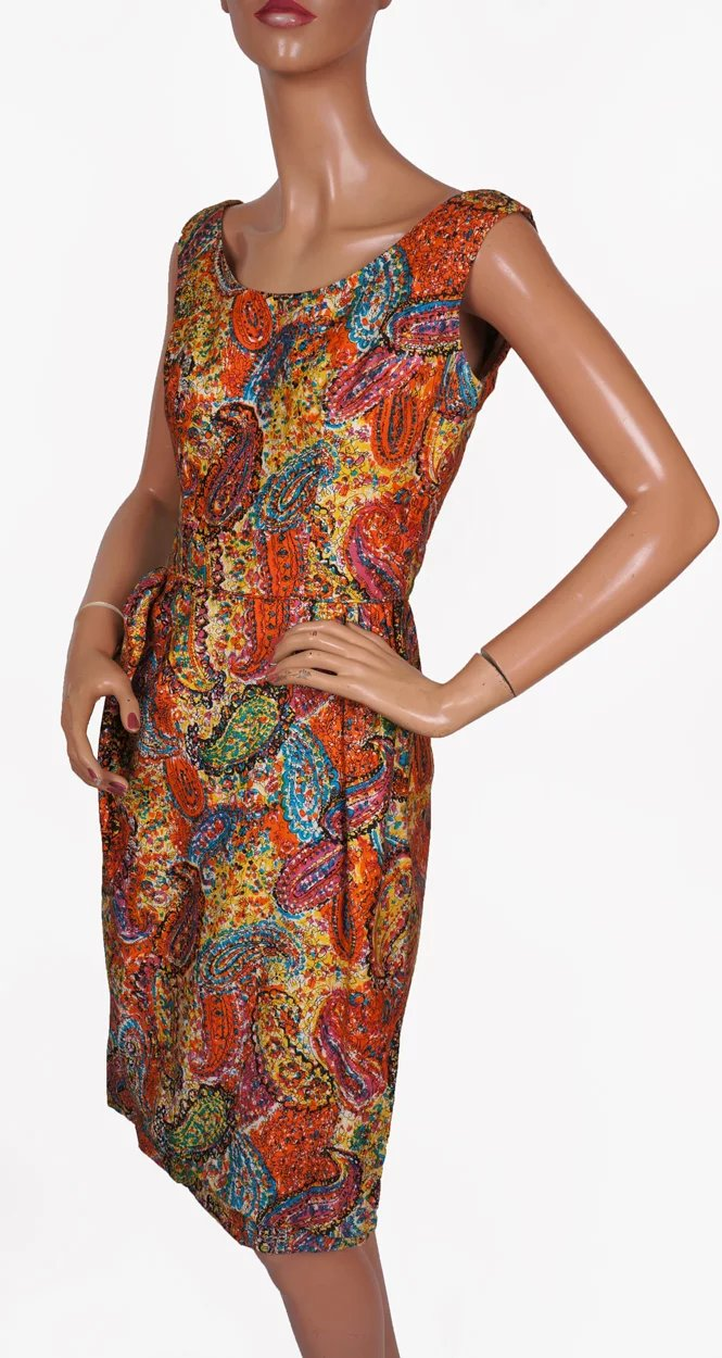 Vintage Clothing Do You Think Its Coming Back: 1950s Paisley Print Cotton Dress Klever Klad Junior