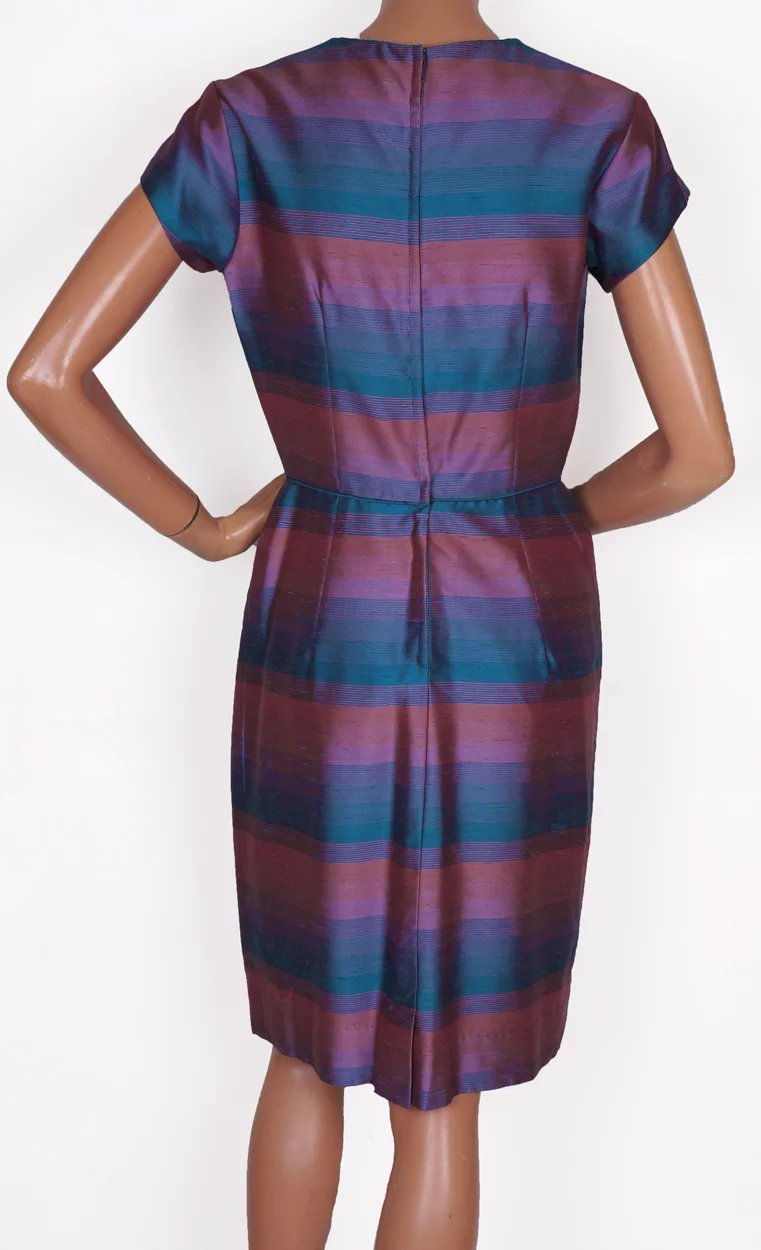1960s Radiant Orchid Color Block Striped Silk Dress with Long Jacket ...
