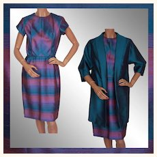 Vintage 1960s  Silk Dress with Jacket Blue and Violet  Size S