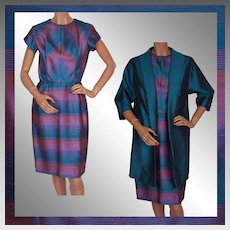 1960s Radiant Orchid Color Block Striped Silk Dress with Long Jacket Sharkskin Silk Size S Vintage