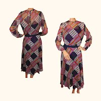 Vintage 1960s Organza Dress - Striped Geometric Print