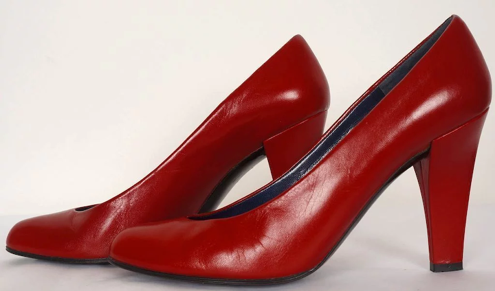 8809730ffa2a8 Vintage 80s Charles Jourdan Red Shoes Pumps High Heel 7 AA