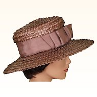 1960s Taupe Boater Straw Hat
