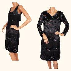 Vintage 1960s Black Silk Fringed Satin Dress and Jacket Asian Brocade S / M