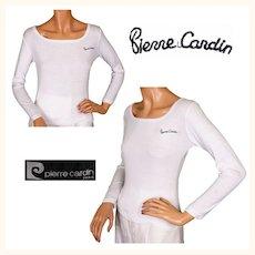 Vintage 70s Pierre Cardin Paris White T Shirt Top Size M / L