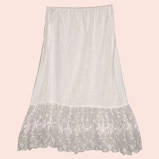 Vintage White Cotton Half Slip with Embroidered Organdy Trim Size Medium