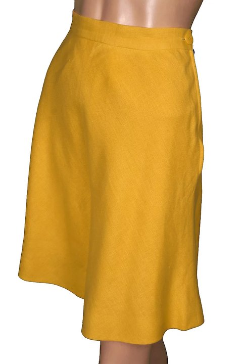 21ab7cf9ba Vintage 80s Valentino Yellow Linen Culottes Skirt Size 8 Made in Italy
