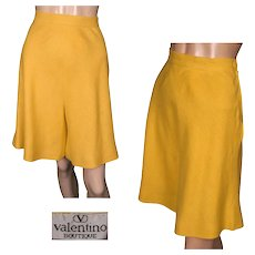 Vintage 80s Valentino Yellow Linen Culottes Skirt Size 8 Made in Italy