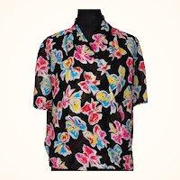1990s Ungaro Chiffon Blouse Bow Print