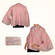 Vintage 1950s Pink Bed Jacket with Angel Sleeves Size L