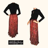 Vintage 1970s Mollie Parnis Silk Dress with Paisley Chiffon Skirt S / M