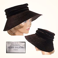 Vintage 1950s Pierre Balmain Brown Velvet Hat Reproduction Model Ladies Size M