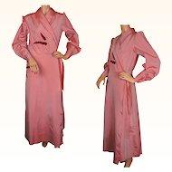 Vintage 1930s Pink Taffeta Dressing Gown - L
