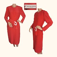 Vintage 80s Hanae Mori Red Silk Dress w White Stars Size 6 Small NWT