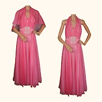 Vintage 60s Pink Chiffon Evening Gown Halter Style Dress Size M / L