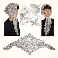 Vintage Hand Made Spider Web Teneriffe Needle Lace Head Scarf or Veil