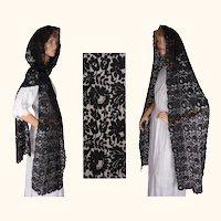 Vintage Black Lace Stole Shawl Spanish Mantilla Head Scarf Veil