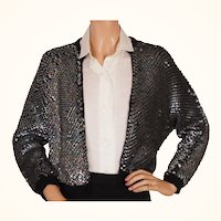 Vintage 50s Iridescent Blue Sequin Sweater - M