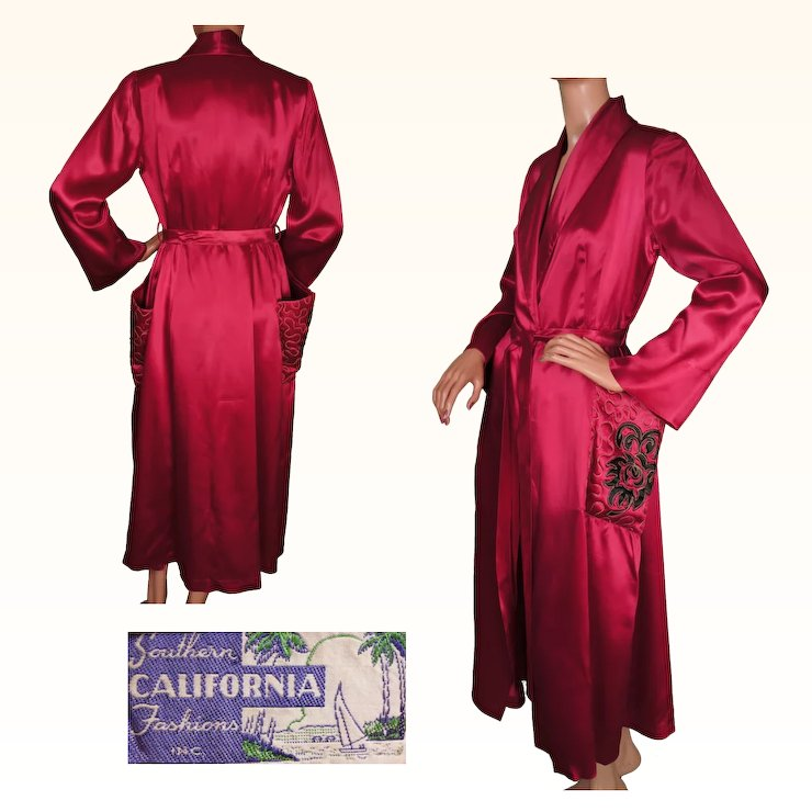 Vintage 1940s Magenta Red Satin Dressing Gown by Southern California ...
