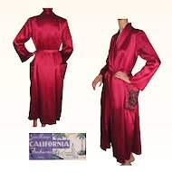 Vintage 1940s Magenta Red Satin Dressing Gown by Southern California Fashions Ladies Size M