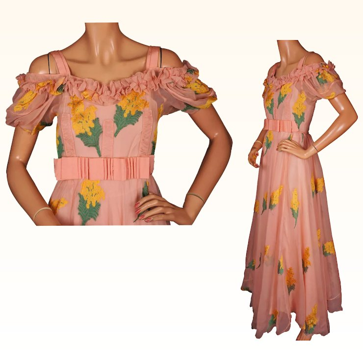 vintage 1930s silk chiffon garden party dress full length with slip size s - Garden Party Dress
