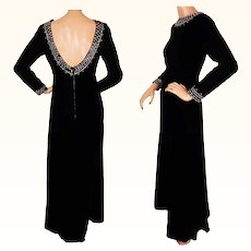 Vintage 60s Black Velvet Evening Gown Dress with Crystal Rhinestone Trim Size S