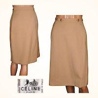 "Vintage 1970s Celine Paris Tan Wool Twill Wrap Skirt Ladies Size Small 24 - 27 3/4"" Waist"
