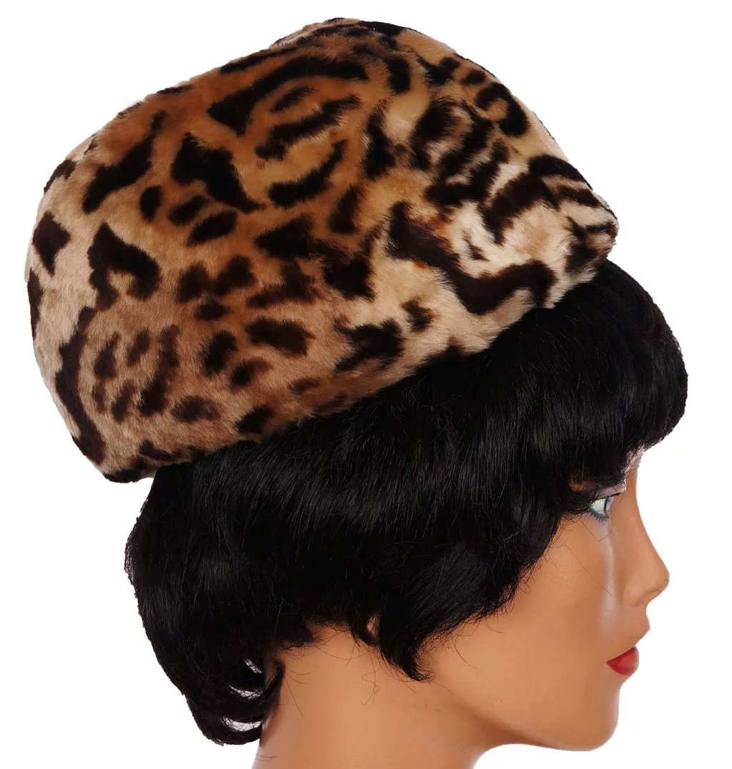 08ef1f3cffd43 Vintage 1960s Leopard Print Pillbox Hat Stenciled Mouton Sheared Lamb -  Size S   M. Click to expand
