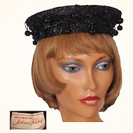 Vintage 1950s Black Straw Beret Style Hat with Beaded Dangles Ladies Size S / M