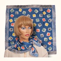 Vintage 50s Liberty of London Tumbling Color Blocks Silk Twill Scarf Square Neckerchief