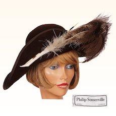 1980s Philip Somerville Brown Felt Wide Brim Hat