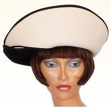 1980s Black & White Felt Hat Adolfo II