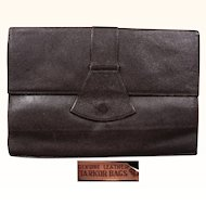 1930s Brown Leather Clutch Handbag - Tarkor