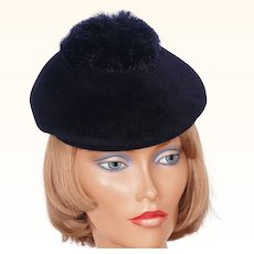 1960s Navy Blue Velour Felt Cap with Pom Pom