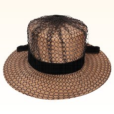 Vintage Schiaparelli Paris Hat 1960s Wide Brim Straw w Netting Ladies Size S