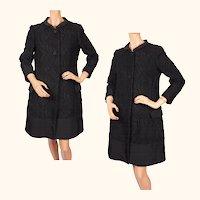 Vintage Italian Couture Coat Black Wool & Faille  - 1960s - Via Veneto Roma - Size M 10