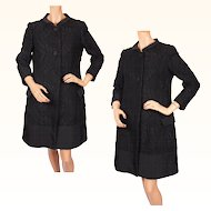 Vintage Italian Couture Coat Black Wool & Faille 1960s Via Veneto Roma Size M 10