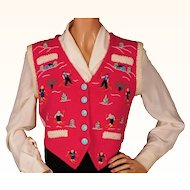 Vintage Ski Sweater Vest Hand Knit & Embroidered 1940s Ladies Size M