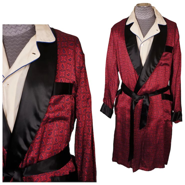 Vintage Mens Dressing Gown 1960s Lounging Robe Size XL Extra Large ...