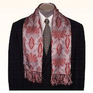 Vintage Mens Fringed Scarf 1950s Red on Grey by Pioneer for Grover's