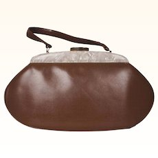 Vintage 1950s Leather Handbag Taupe with Pearlized Lucite Accent