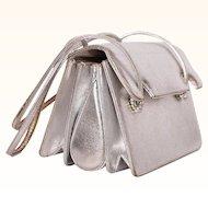 Vintage 1960s Judith Leiber Silver Leather Handbag