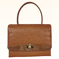 Vintage 1960s Faux Ostrich Handbag - Coret