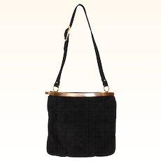 1960s Black Suede Shoulder Bag Purse - Coret