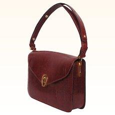 1960s Burgundy Leather Handbag Purse